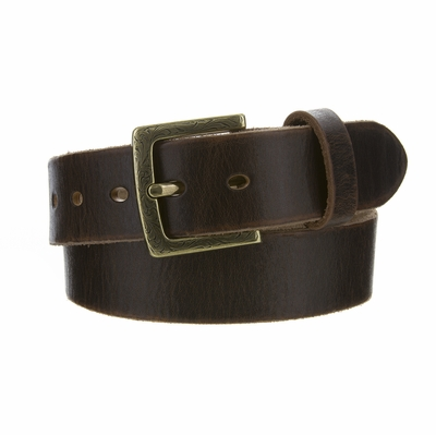"4410 Fullerton Women's Brown Vintage Casual Genuine Full Grain Leather Belt  1 1/2"" wide - Brass Buckle"