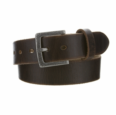 "4410 Fullerton Women's Brown Vintage Casual Genuine Full Grain Leather Belt  1 1/2"" wide - Silver Buckle"