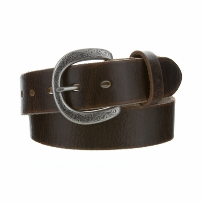 "4408 Fullerton Women's Brown Vintage Casual Genuine Full Grain Leather Belt  1 1/2"" wide - Silver Buckle"