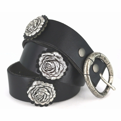 Genuine Full Grain Leather Western Black Rosette And Antique Silver Rose Concho Belt 1 -1/2""