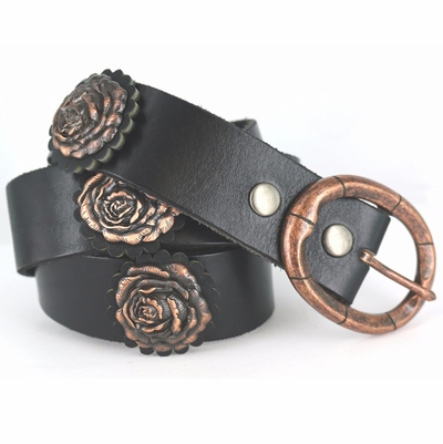 Genuine Full Grain Leather Western Black Rosette And Copper Rose Concho Belt 1 -1/2""