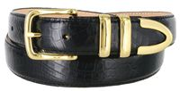 "Genuine Italian Calfskin Alligator Embossed Leather Dress Belt Gold Plated Buckle Set - BLACK 1 1/4"" wide"