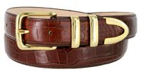 "3258 Genuine Italian Calfskin Alligator Embossed Leather Dress Belt Gold Plated Buckle Set - BROWN 1 1/4"" wide"