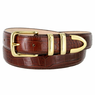 "Genuine Italian Calfskin Alligator Embossed Leather Dress Belt Gold Plated Buckle Set - BROWN 1 1/4"" wide"