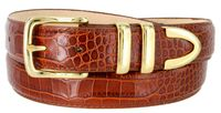 "3258 Genuine Italian Calfskin Alligator Embossed Leather Dress Belt Gold Plated Buckle Set - COGNAC 1 1/4"" wide"