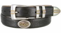 "3302 Genuine Italian Calfskin Leather Golf Belt with Antique Silver and Gold Buckle Set and Conchos 1-1/8"" wide"