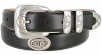 """Genuine Italian Calfskin Leather Golf Belt with Antique Silver Buckle Set and Golf Conchos 1-1/8"""" wide"""