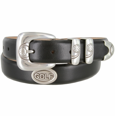 "3203 Genuine Italian Calfskin Leather Golf Belt with Antique Silver Buckle Set and Golf Conchos 1-1/8"" wide"