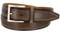 "41042 Genuine Italian Full Grain Leather Dress Belt Antiqued Roller Buckle 1-3/8"" wide - BROWN"