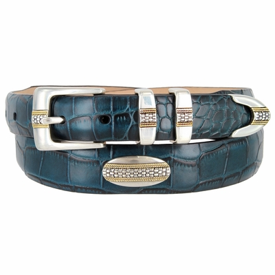 1295 Genuine Tapered Italian Alligator Embossed Leather Golf Belt Conchos - AQUA