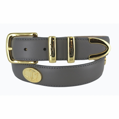 "Golf in Gold Calfskin Leather Belt - 1 1/4"" wide"