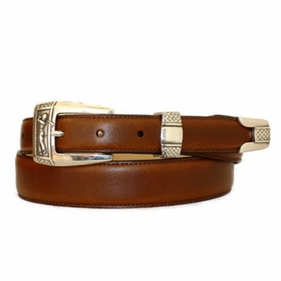 Golf Player Belt Hand Dyed Genuine Italian Calfskin Smooth Leather Belt
