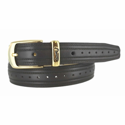 "Golf Swing Perforated  Dress Belt - 1 1/8"" wide BROWN"