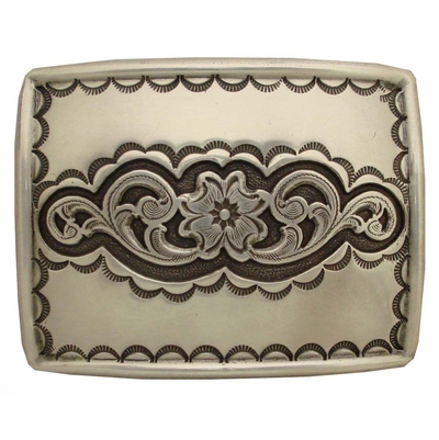 H-8140 Western Engraving Highlights Sterling Finish Belt Buckle