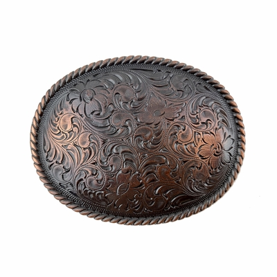 H8136 Copper Western Engraved Rope Edged Oval Belt Buckle