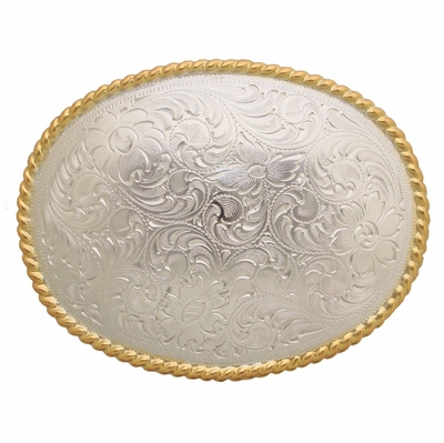 H8136 Shinny Silver N Gold Western Engraved Rope Edged Oval Belt Buckle
