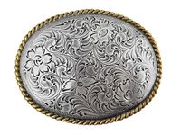 H8136 Silver N Gold Western Engraved Rope Edged Oval Belt Buckle