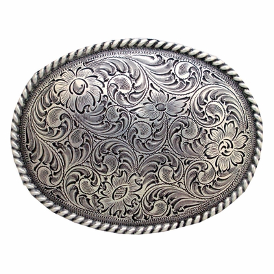 H8136 Silver Western Engraved Rope Edged Oval Belt Buckle