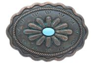 "H8389-2 Turquoise Inlay Flower Patina Buckle - Fits up to 1 3/8"" Wide Belt"