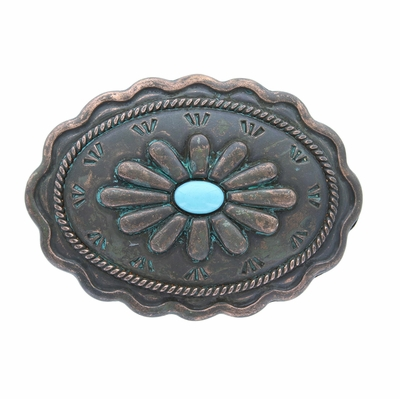 """H8389-2 Turquoise Inlay Flower Patina Buckle - Fits up to 1 3/8"""" Wide Belt"""