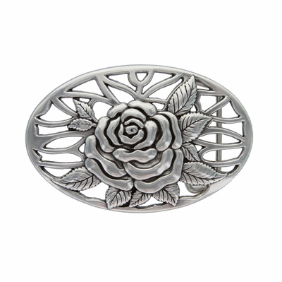 HA0493 Silver Rose and Vines Oval Buckle