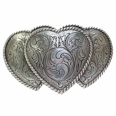 HA0086 Silver Large Triple Three Heart Shape Western Belt Buckle