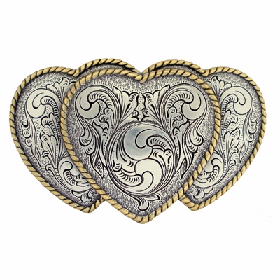 HA0086 Silver N Gold Large Triple Three Heart Shape Western Belt Buckle