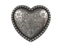 HA0478 Antique Silver Floral Engraved Heart Berry Belt Buckle
