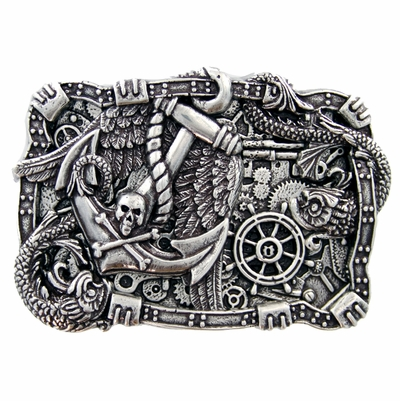 HA2342 Boat Anchor Rudder Skull Punk Belt Buckle