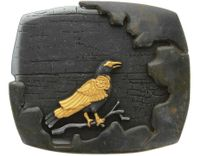 HA2343 Vintage Antique Egyptian Black Gold Crow Buckle