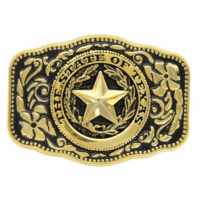 HA8888 STATE OF TEXAS GOLD BELT BUCKLE