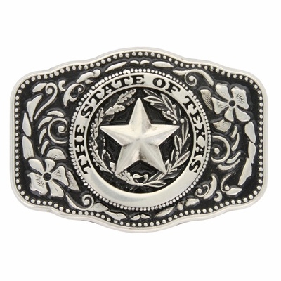 HA8888 STATE OF TEXAS SILVER BELT BUCKLE