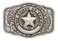 HA8888 STATE OF TEXAS ANTIQUE SILVER BELT BUCKLE