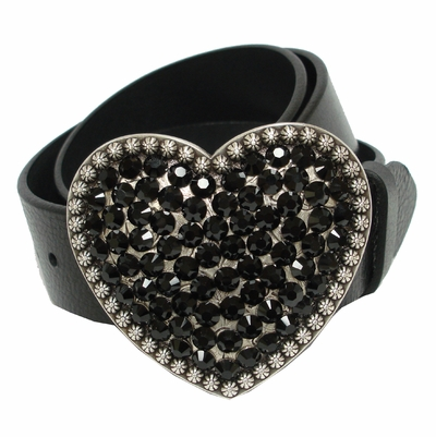 "Heart  Swarovski Rhinestone Crystal Leather Women's Belt 1 1/2"" Wide"