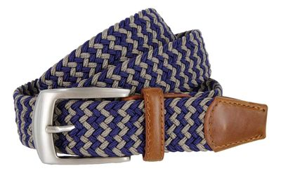 LA1198 Braided Elastic Fabric Stretch Belt - Navy/Grey