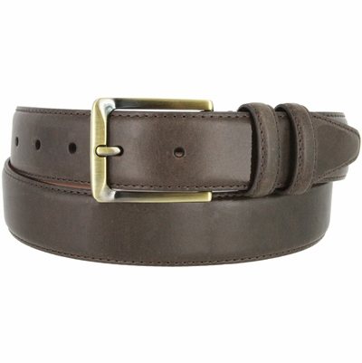 "2042 Genuine Italian Calfskin Leather Dress Casual Belt 1-3/8"" (35mm) wide with Brass Buckle"