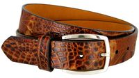 12273 Alligator Embossed Italian Calfskin Leather Dress Belt - TAN