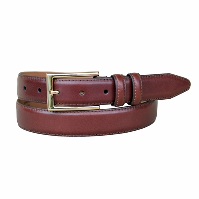 "1576LJ  Men's Smooth Leather Dress Belt 1-1/8"" Wide - BROWN"