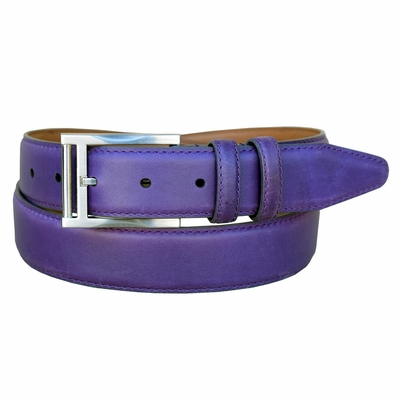 "2047 Men's Smooth Leather Dress Belt 1-3/8"" Wide - PURPLE"