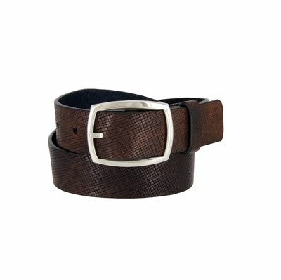 "13052 Belt Men's Genuine Italian Leather Casual Jean Belt 1-3/8"" Wide Made in USA - Tan"