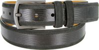 "Lejon Belt Pelican Hill Full Grain Italian Calfskin Leather and Suede Dress Belt 1-3/8"" Black"