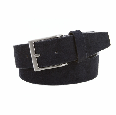 "41101 Casual Suede Leather Dress Belt - 1 1/2"" Wide - NAVY"