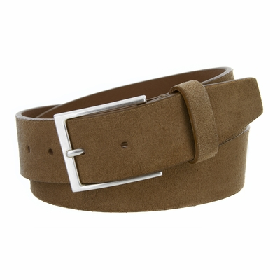 "41201 Casual Suede Leather Dress Belt - 1 1/2""Wide - TAN"