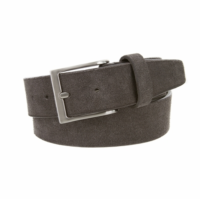 "41101 Casual Suede Leather Dress Belt - 1 1/2"" Wide - GRAY"