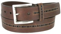 12162 Center Stitched Perforated Oil Tanned Harness Leather Dress Belt - Brown