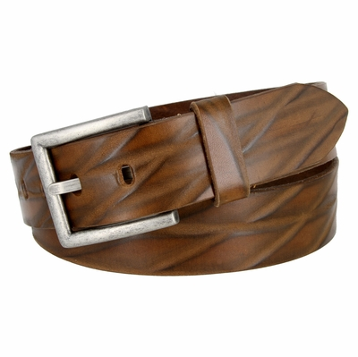 "18622 Diamond Pattern Italian Saddle Leather Casual Dress Belt 1-1/2"" wide - BROWN"