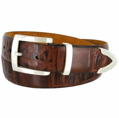 Lejon Genuine Italian Crocodile Embossed Leather Dress Belt - Brown