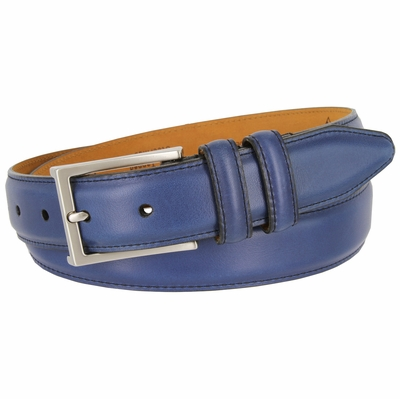 15335 Glove Tanned Steerhide Smooth Leather Dress Belt - Blue