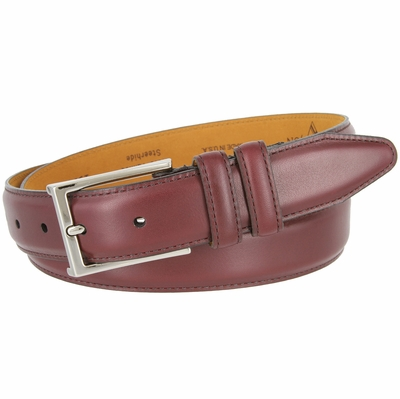 15338 Glove Tanned Steerhide Smooth Leather Dress Belt - Burgundy