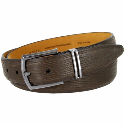 13022 Natural Tree Embossed Genuine Italian Leather Dress Belt - Brown